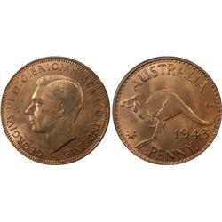 1943 Bombay Penny PCGS MS64 RB