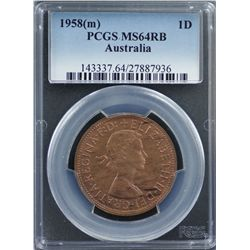 1958 Penny PCGS MS 64 RB