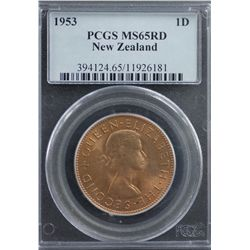 New Zealand Penny 1953 PCGS MS 65 Red