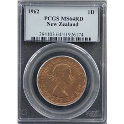 New Zealand Penny 1962 PCGS MS 64 Red