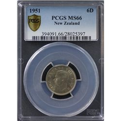 New Zealand Sixpence 1951 PCGS MS 66