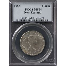 New Zealand Florin 1953 PCGS MS 64