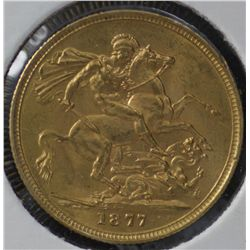 Australia 1877M Sovereign , Uncirculated