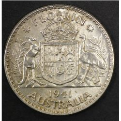 Australia Florin 1941 Unc cleaned, Sixpences 1940 EF, 44s,42d Choice Unc