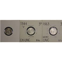 Australia Threepences 1944S BU, 1957 BU, 1963 BU