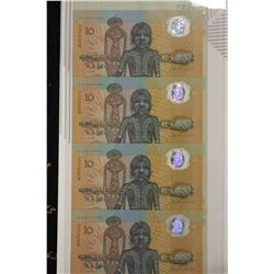 Strip of 5 1988 $10 Notes, scarce