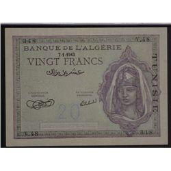 Tunisia 1943 20 Francs