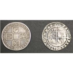 GB Elizabeth 1 Sixpence and 1720 Shilling both VG