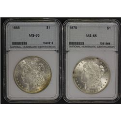 USA Silver Dollars 1897 & 1885 Brilliant Unc