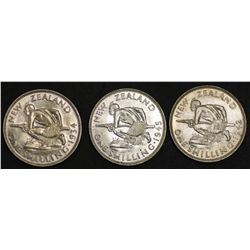 New Zealand Shillings 1934, 1942, 1945 uncirculated