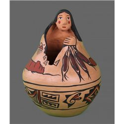 Diane Wade Isleta Antique Hand Painted Pottery (Woman),