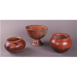 Group of three Pre-Columbian Pottery Artifacts   (Size: