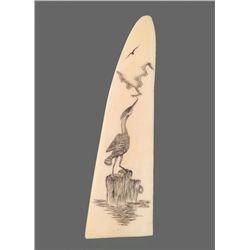 Ivory Scrimshaw of a Crane   (Size:  See Last Photo for