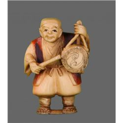 19th Century Ivory Netsuke, Man with Gong   (Size:  See