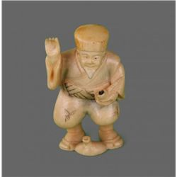 Early 1900's Ivory Netsuke, Man with Smoking Pipe