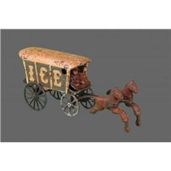 Antique Toy with Horses and Ice Carriage.   (Size:  See