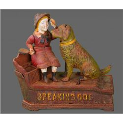 Speaking Dog Mechanical Bank - Red Dress Cast Iron.