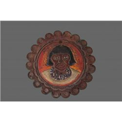 Antique leather engraving and painting of a Native.
