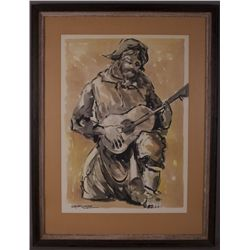 Jose Luis Campuzano (1918-1979), Man Playing Guitar.