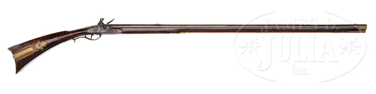 ONE OF THE FINEST LEHIGH COUNTY RELIEF CARVED RIFLES MADE BY JACOB KUNZ