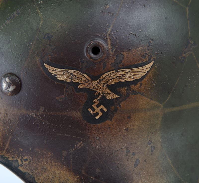 PARTIALLY RESTORED WWII GERMAN LUFTWAFFE HELMET