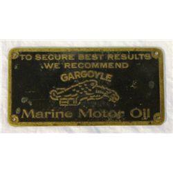 Gargoyle Marine Motor Oil Brass Plate