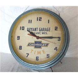 "Bryant Garage ""Chevrolet Time"" Clock"