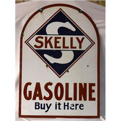 Skelley Gas Curb Double-sided Porcelain Sign