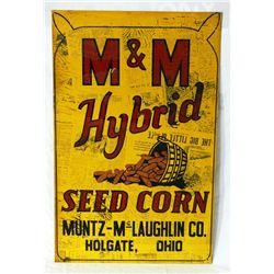 M&M Hybrid Seed Corn Single-sided Tin Sign