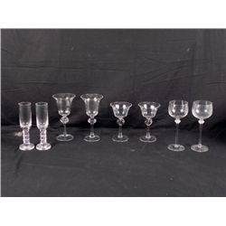 8) Large Fancy Fine Crystal Glasses- Wine and Champagne