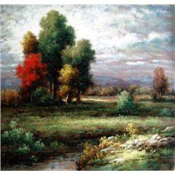 Country Home 24 x 24 Original Oil-By Munoz Peru