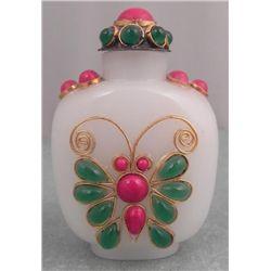 White Glass Beaded Snuff Bottle w/ Butterfly & Flower
