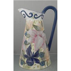 Lesal Studio Large Floral Painted Ceramic Pitcher