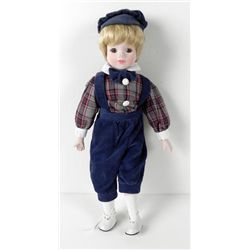 Bisque Boy Doll Traditional in Corduroy & Cap 17 In.