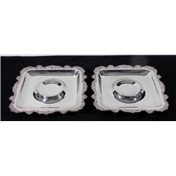 2 Silver Plate Old English Poole Shrimp Tray Servers