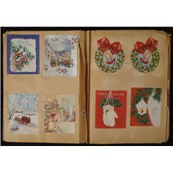 Big Vintage Scrapbook 1930s-50s Christmas Card Lot 400+