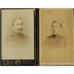 2 Antique CDV Photos German Military Officers Portraits