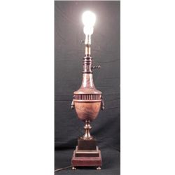 Vintage Classical Green Urn Wood Grain,Brass Table Lamp