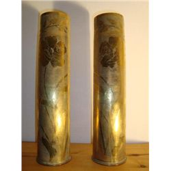 Pair of French WWI Trench Art Artillery Shells Shield