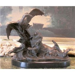 Wonderful Bronze Sculpture Retriever Hunting Dog & Duck