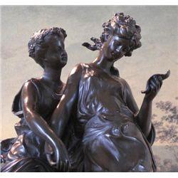 Charming Bronze Sculpture Victorian Sisters