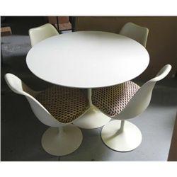 1970s Retro Modern White Round Table & 4 Chairs Set