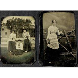 2 Antique Tintype Photographs Women, Outdoors