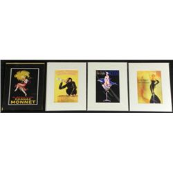 4 Vintage Advertising Posters Prints Grace Kelly,Monnet