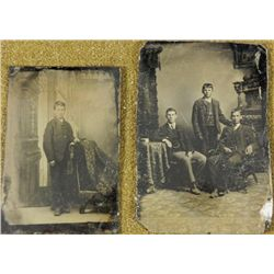 2 Antique Tintype Photographs Young Men, Boy Photos