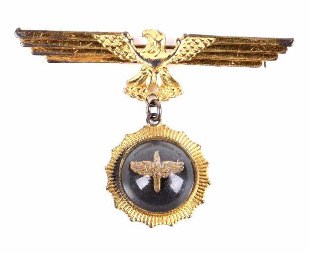 Nazi Eagle & Swastika Badge Sterling