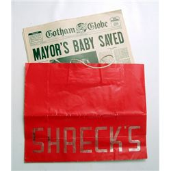 Batman Returns Red Shreck's Shopping Bag & Newspapers Props