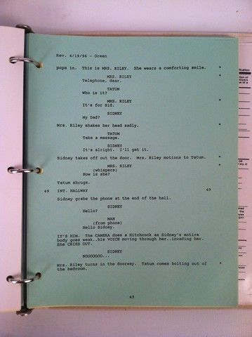Scream Original Script/Revised Pages/Production Notes/Call