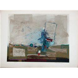 Nissan Engel, Blue Symphony, Signed Lithograph