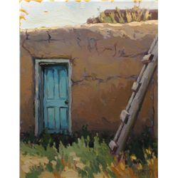 Shelby Keefe, Blue Door-Taos Pueblo, Oil on Canvas